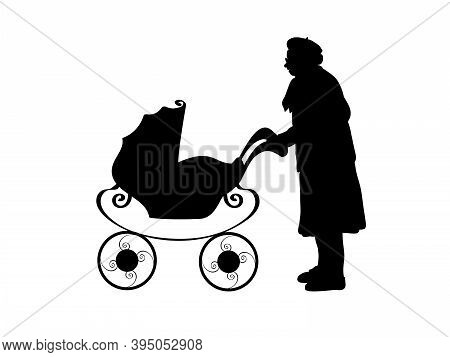 Silhouette Of Grandmother With Baby Stroller. Illustration Graphics Icon Vector