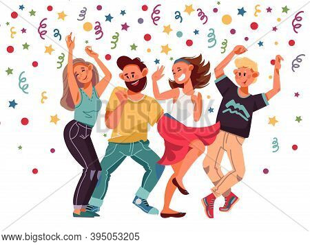 People On Party. Cartoon Female, Excitement Dance Laughing Characters. Isolated Dancing Women, Group