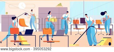 Cleaning Workers In Office. Cartoon Woman Clean, Professional Hygiene Service Team. Female Male Clea