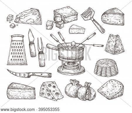 Different Cheese. Recipe Ingredients, Fondue Meal Sketch And Cutlery. Hand Drawn Parmesan Gouda Edam
