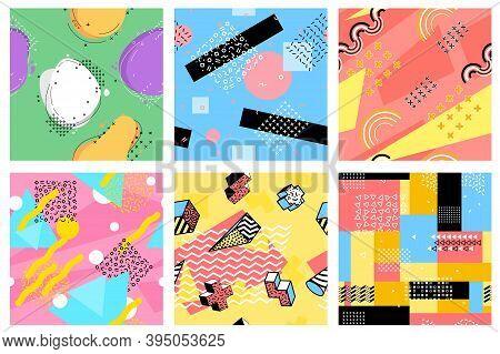 Memphis Seamless Pattern. Hipster Postcards, Fashion Pop Art Elements Design. Children Print, 80s Co