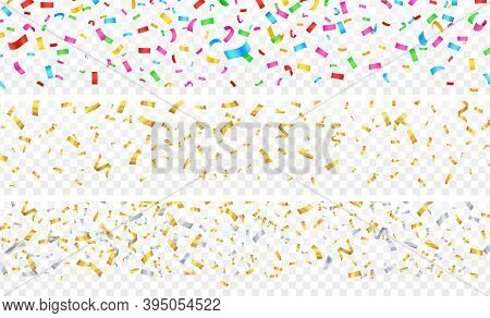 Confetti Banner. Gold Silver Colorful Falling Particles On Transparent. Festive Celebration, Birthda