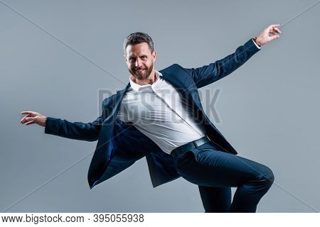 Pure Happiness. Handsome Happy Ceo. Bearded Businessman Dancing In Suit. Confidence And Success. Mal