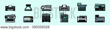 Set Of Photocopier Cartoon Icon Design Template With Various Models. Modern Vector Illustration Isol