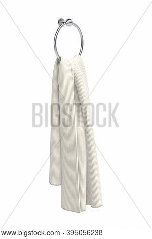 Cream Towel Hanging On A Round Metal Holder - Isolated On White Background - 3d Render