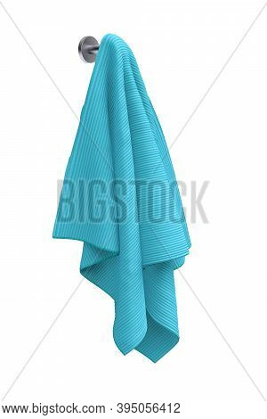 Blue Colored Towel Hanging On A Metal Handle On A White Background 3d - 3d Render