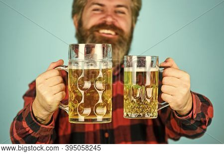 Holiday Celebration. Bachelor Day. Improve Mood. Get Drunk. Alcoholic. Thirsty Man Drinking Beer In