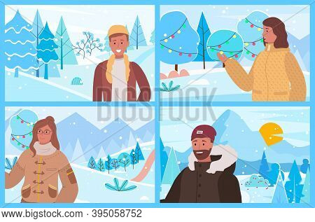 Set Of Four Winter Pictures With People In Warm Clothes. Pretty Women And Men Standing On Pathway In