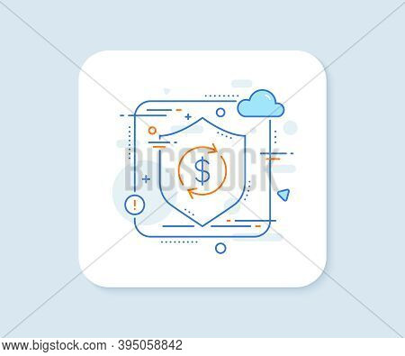 Currency Exchange Line Icon. Abstract Vector Button. Money Transfer Sign. Dollar In Rotation Arrow S