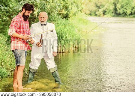 Fishing Excuse Drinking. Bearded Man And Elegant Businessman Fishing Together. Cheers. Men Relaxing
