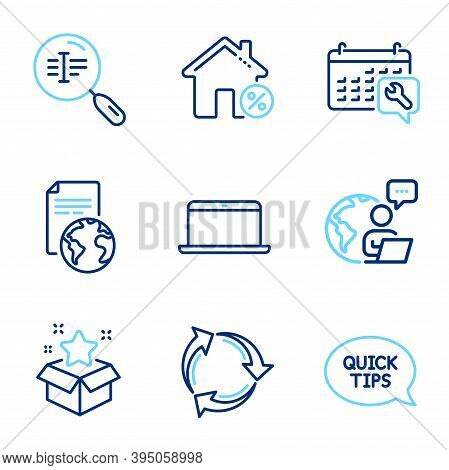 Technology Icons Set. Included Icon As Recycle, Loan House, Search Text Signs. Laptop, Translation S