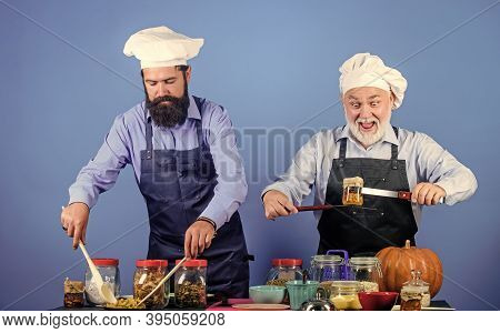 Cooking Is My Passion. Cereals And Seasoning. Professional Restaurant Cook. Mature Senior Bearded Me