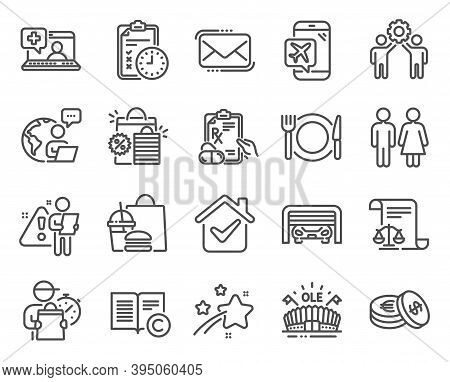 Business Icons Set. Included Icon As Messenger Mail, Prescription Drugs, Medical Help Signs. Exam Ti