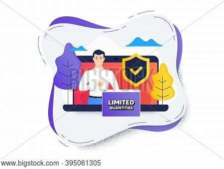 Limited Quantities Symbol. Protect Computer Online Icon. Remote Education Class. Special Offer Sign.