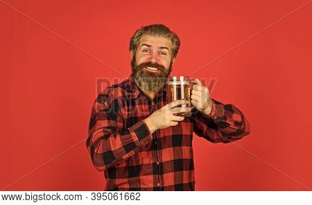 Retro Advertising Of Alcoholic Beverage. Stylish Bartender Or Barman In Bar. Man Hold Glass Of Beer.