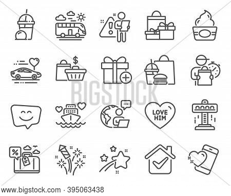 Holidays Icons Set. Included Icon As Honeymoon Cruise, Attraction, Smile Face Signs. Honeymoon Trave