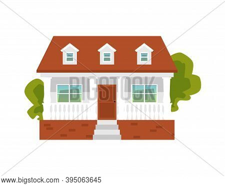Suburban House With Terrace And Porch, Flat Vector Illustration Isolated.
