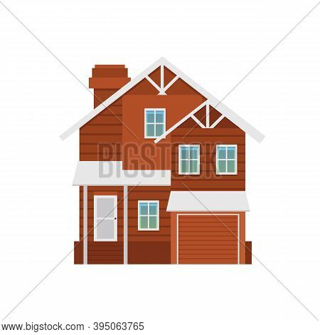 Vector Isolated Illustration Of Two-storey Suburban Cottage With Garage