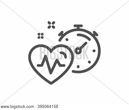 Cardio Training Timer Line Icon. Fat Burning Time Sign. Gym Fit Heartbeat Symbol. Quality Design Ele