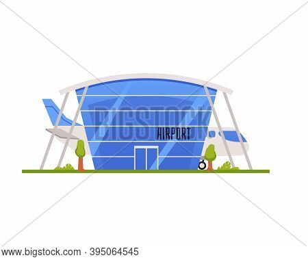 Airport Glazed Building With Landed Plane Flat Vector Illustration Isolated.