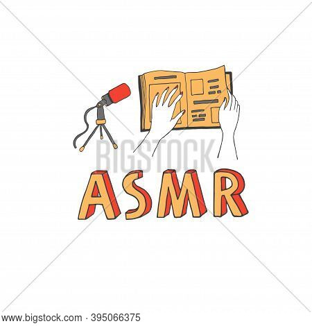 Page Turning Sound As An Asmr Trigger. Microphone Recording A Book Noise. Blogger Making Content For