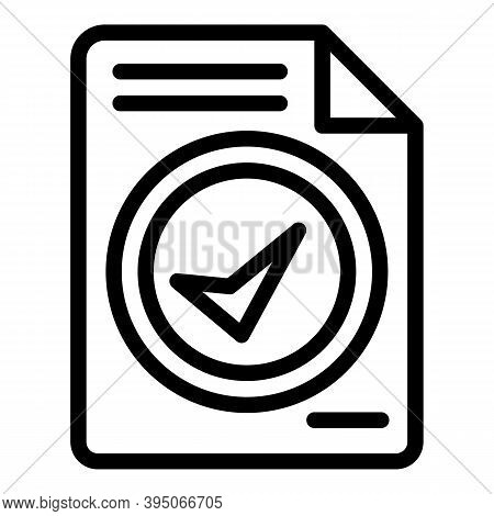 Done Contract Icon. Outline Done Contract Vector Icon For Web Design Isolated On White Background