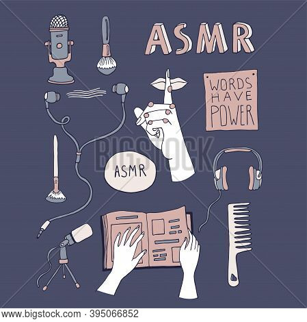 Asmr Concept Elements Set With Hand Drawn Lettering. Sound Triggers For Reducing Anxiety And Stress.