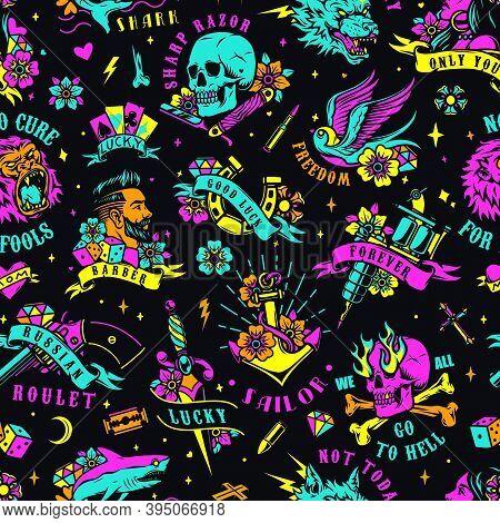 Bright Colorful Tattoos Seamless Pattern With Animals Skull Horseshoe Stylish Man Woman Dagger Tatto