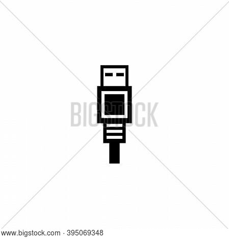 Usb Connector For Computer, Charging Cable. Flat Vector Icon Illustration. Simple Black Symbol On Wh
