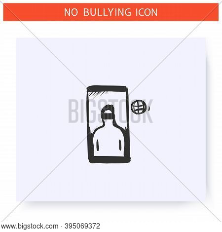 Internet Shaming Icon. Harassment In Social Media. Outline Sketch Drawing. Cyberbullying, Internet A