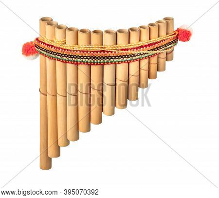 Multi-barrel Flute Isolated On White Background. South American National Musical Instrument Pan Flut