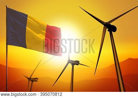 Chad Wind Energy, Alternative Energy Environment Concept With Turbines And Flag On Sunset - Alternat