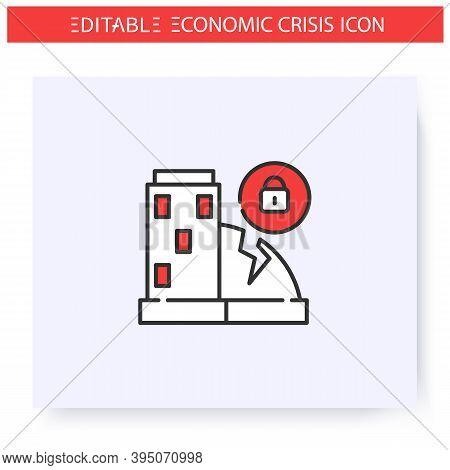 Company Closure Line Icon.financial Crisis Impact Company Bankruptcy.closed Business Center. Economi