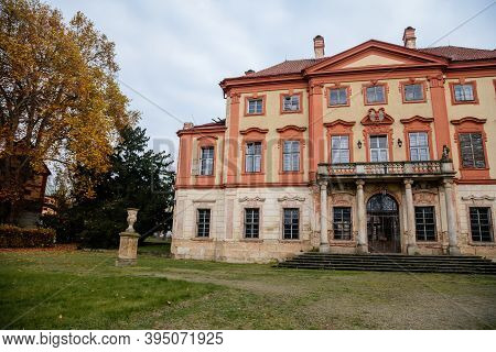 Old Abandoned Ruined Baroque Libechov Castle With Balcony In Sunny Day, Romantic Chateau Was Heavily