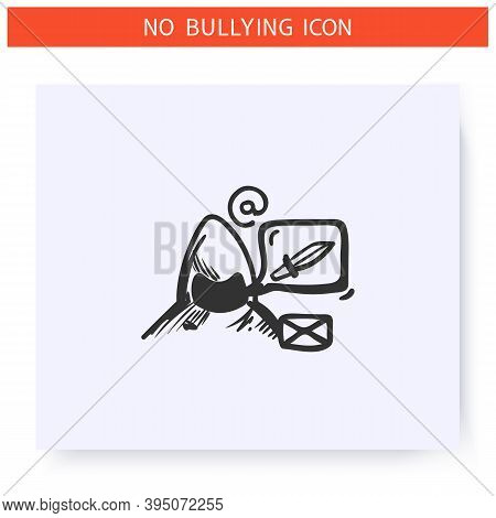Cyberbullying Email Icon. Harassing Text Messages.outline Sketch Drawing. Anonymous Menacing Email,