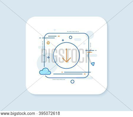 Scroll Down Button Line Icon. Abstract Square Vector Button. Scrolling Screen Sign. Swipe Page. Scro