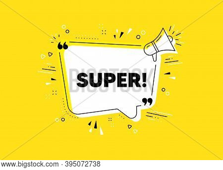 Super Symbol. Megaphone Yellow Vector Banner. Special Offer Sign. Best Value. Thought Speech Bubble