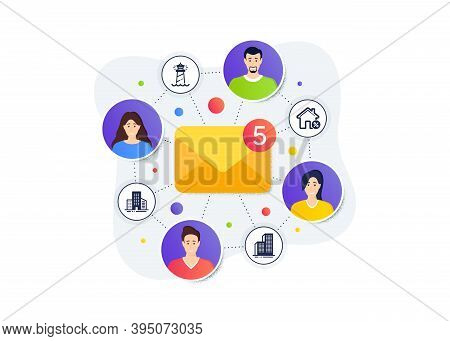 Buildings, Loan House And Lighthouse Icons Simple Set. Teamwork Messages Banner. Employee Remote Wor