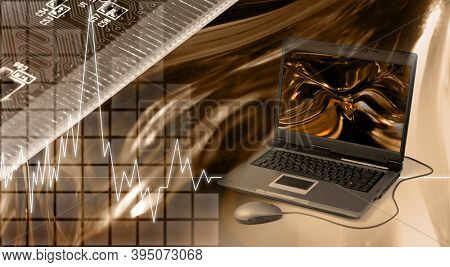 Conceptual photo-illustration. Computers and electronics modern technology concept.