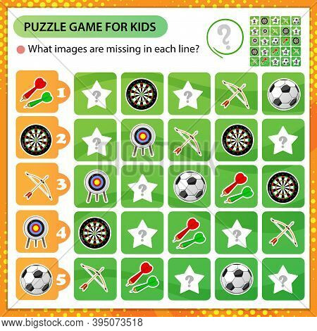 Sudoku Puzzle. What Images Are Missing In Each Line? Sports Equipment. Archery, Darts, Soccer. Logic