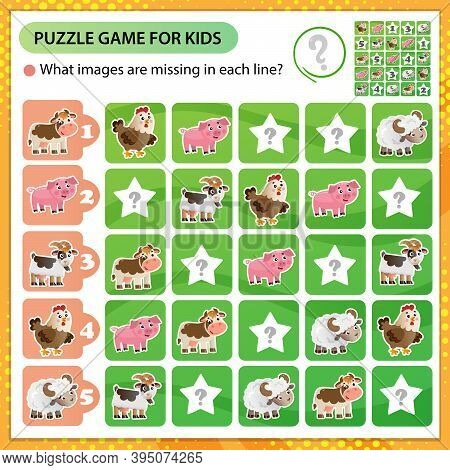 Sudoku Puzzle. What Images Are Missing In Each Line? Farm Animals. Cow, Sheep, Pig, Chicken, Goat. L