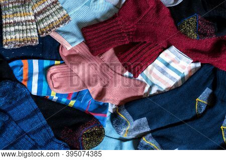 Selection Set Various Sock Bright Wool A Lot Top View Background