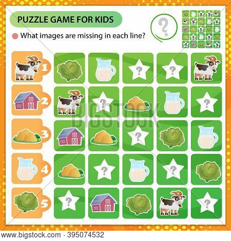 Sudoku Puzzle. What Images Are Missing In Each Line? Farm Animals. Goat. Logic Puzzle For Kids. Educ