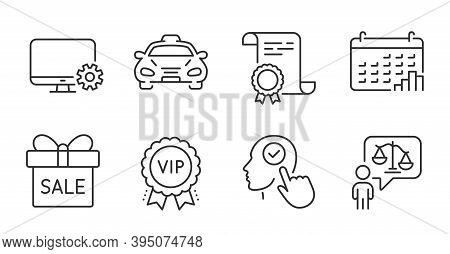 Sale Offer, Vip Award And Certificate Line Icons Set. Lawyer, Monitor Settings And Calendar Graph Si