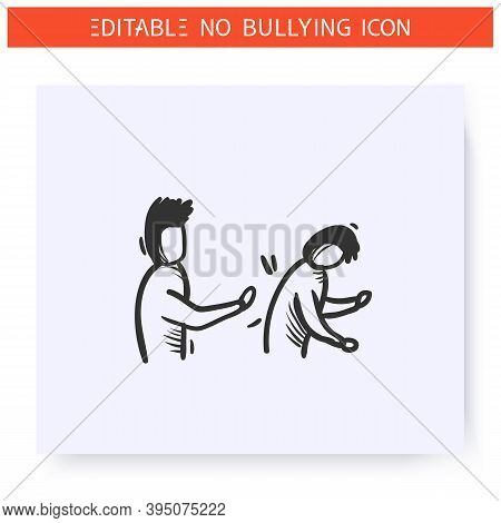 Pushing Icon. Physical Bullying. Outline Sketch Drawing. Man Pushes Another Man. Aggressive Behaviou