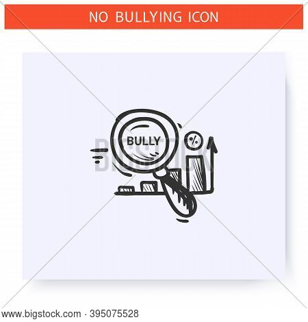 Research On Bullying Icon. Statistics, Information, Problem Study. Outline Sketch Drawing. Aggressiv