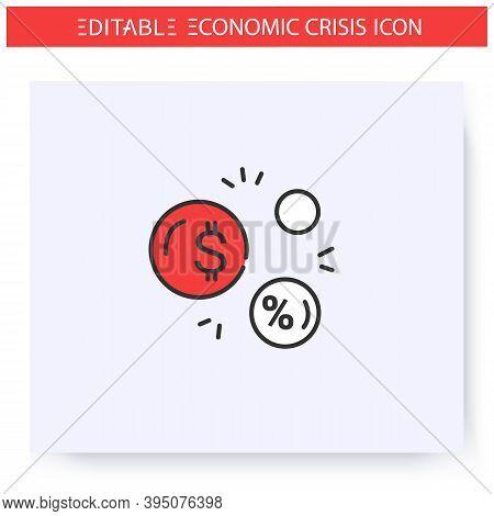 Economic Bubble Line Icon. Economic Crisis Concept. Currency Signs In Bubbles. Economical Crash, Glo