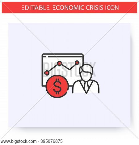 Economist Line Icon. Accountant. Professional Economic Scientist. Study Of Economic Problems. Econom