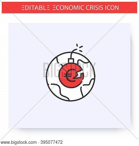 International Debt Crisis Line Icon. Government Credit. Debt Repayment Inability. Default. Economica