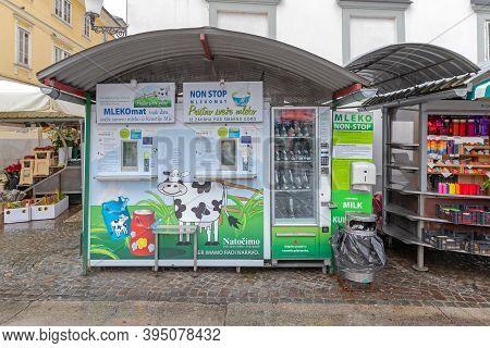 Ljubljana, Slovenia - November 4, 2019: Fresh Milk From Farm Automated Machine At Farmers Market In